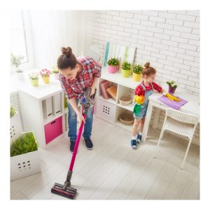 woman and child cleaning